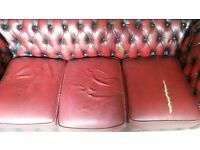 Vintage Red Chesterfield Original 3 Seater Couch!