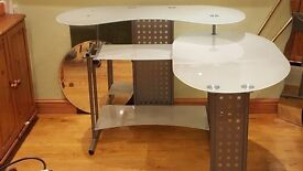 3 TIER GLASS TOP SILVER METAL COMPUTER DESK Optional CORNER HOME WORKSTATION LARGE CONTEMPORARY