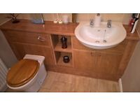 bathroom suite and furniture, including bath with shower screen, mixer taps, toilet