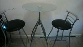 Glass table and stools