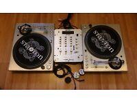 2x Stanton STR8-100 Direct Drive Turntables Gemini PS-626i Mixer
