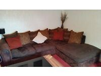 ***LARGE CORNER SOFA AND ARM CHAIR IN CHOCOLATE BROWN, GOOD CONDITION***