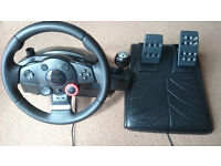 LOGITECH DRIVING FORCE GT STEERING WHEEL AND PEDALS for PS3/PC