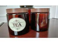 Brown glass storage jars