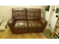 Leather electric double recliner sofa