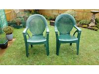 2 adjustable plastic chairs colour green