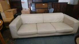 cream leather 3 Seater Sofa - Delivery Available