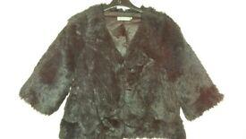 Vintage Style Faux Fur Black Shrug Size 14