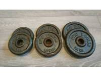 Dumbell weights, cast iron, 7.5kg in total