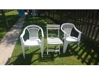 9 plastic green and white Garden chairs no cracks or splits. .