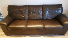 Dfs 3 seater leather sofa bed in very good condition