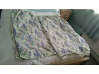 Pair of vintage Laura Ashley blue stocks flower pattern - 55 x 90 inches per panel