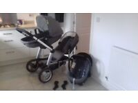 Grey double pram and car seat