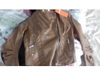 Tan leather look jacket