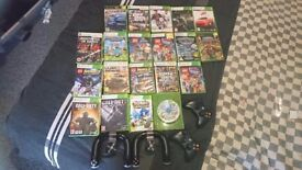 XBOX 360 with mixture of games and controllers