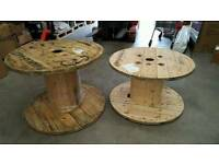 Wooden cable drums.
