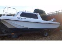 17ft Fishing Boat, pilot/Wilson flyer style dory. 90hp mariner 2stroke 2003