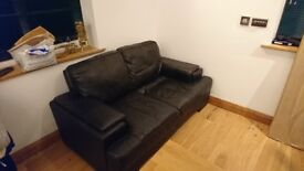 Black Leather Sofa - good condition, great quality