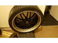 "19"" 5X112 BBS LM STYLE DEEPDISH ALLOY WHEELS AMG VW AUDI GOLF MK5 A3 A4 A5 MERCEDES SPORT BLACK"