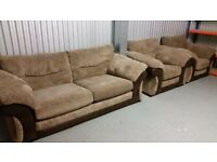 NEW 3pc SOFA SUITE EX DISPLAY BROWN AND BEIGE WITH 2 ARM CHAIRS AND A 3 SEATER