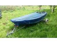 Mirror dinghy.. Plywood. Galvanised trailer .