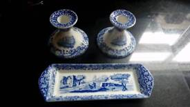 Spode candlesticks and sweet tray