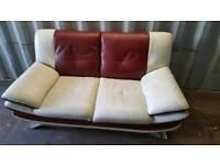 Burgundy and white leather retro sofa