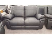 SCS Libra Black Leather 2 Seater Manual Recliner Sofa Can deliver View/Collect Hucknall Nottingham