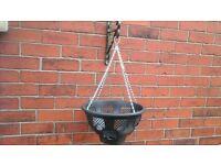 "4x Black hanging baskets 14"""