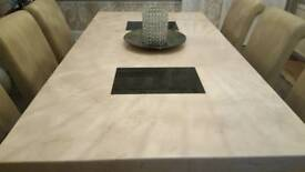 Marble Dining Table and 6 ivory leather look Dining chairs