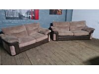 HARVEYS FABRIC NICE CORD SOFA BED SET WITH MATTRESS FREE DELIVERY