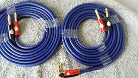 90 Degree 24K Gold Plated Fisual Banana Plugs +2 Chameleon 12 Gauge Wire at 3m