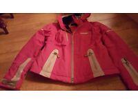 Girls pink shcòffel ski jacket.