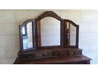 DRESSING TABLE WITH DRAWERS,TRIPLE MIRROR WITH DRAWERS,IDEAL FOR PAINTING TO YOUR COLOUR SCHEME