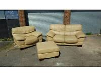 Great cream beige leather sofa suite. 2+1+footstool.can deliver