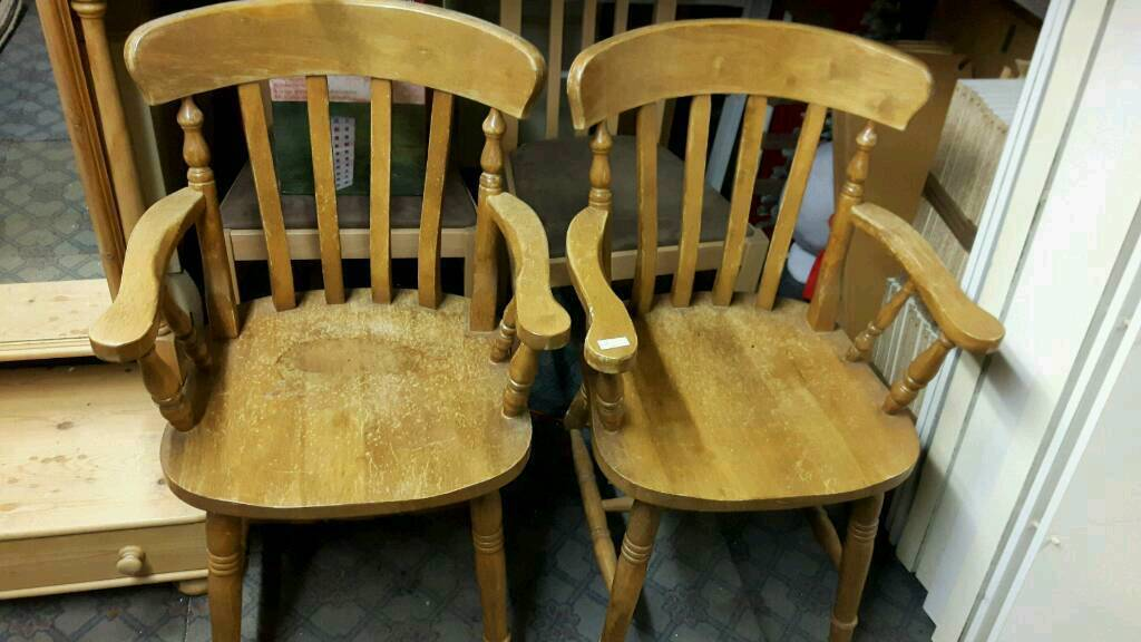 Solid Beech Farmhouse Carver Chairs