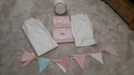 Baby room set , Lampshade , Curtains , Bunting and 2 x Pictures