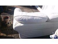 2 x two seater cream fabric sofa's