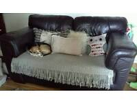 Chocolate brown two seater sofa