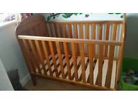 Used John Lewis janelle drop side cot. 120cm. With toysrus mattress in excellent condition