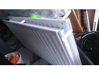 3 central heating radiators with 3 BRAND NEW Drayton RT212 Thermostatic Valves & Lockshields
