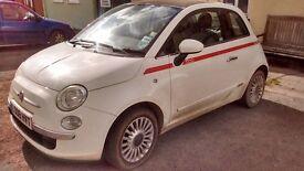 Fiat 500 1248 diesel multijet. white with red stripe