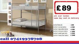 single metal bunk split in 2 single Frame available , Bedding