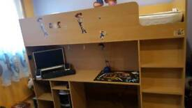 Child bed with desk and wardrobe and shelves