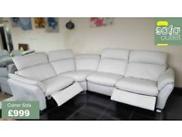 Designer Grey Leather 3 piece corner sofa (149) £999