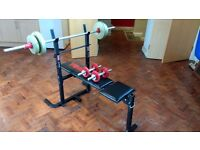 York 232 Weight/Fitness Bench + Weights