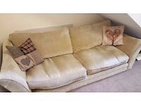 3 Seater fabric sofa with dark wood feet. Good condition from a smoke and pet free home