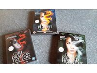 3 DVD set of Stieg Larsson's Girl with Dragon Tattoo trilogy, good condition, can post