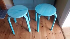 Hand painted Ikea pine stools. One off design.
