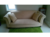 JOHN LEWIS CHESTERFIELD SOFA, plus 2 scatter cushions.